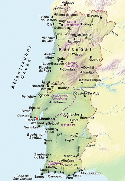 portugal algarve karte portugal algarve karte landkarten europa landkarte karte lissabon region. Black Bedroom Furniture Sets. Home Design Ideas